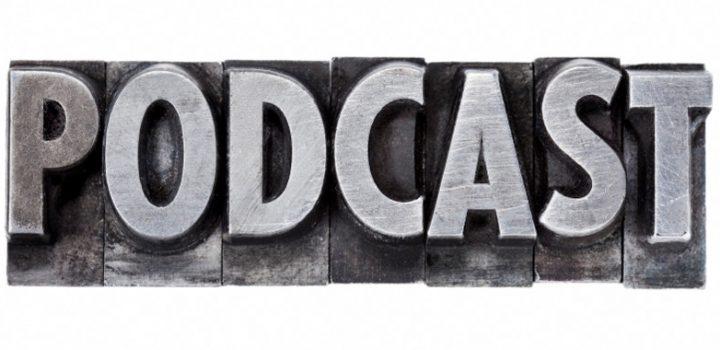 podcast - internet broadcasting concept - isolated word in grunge vintage metal letterpress printing blocks